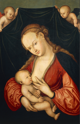The Virgin Mary suckling Jesus, 1530, by Lucas Cranach the Elder (1472-1553), oil on canvas.