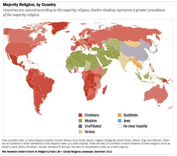 Majority Religion, by Country