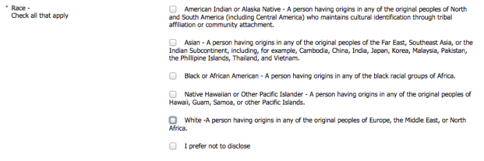 Affirmative Action Voluntary Self Identification Form-Race Question